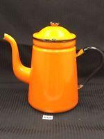 Enamelware Coffee Pot Orange w/Black Trim