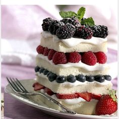 Angel food cake with fruit!!