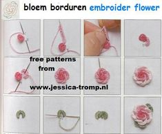 embroidery flower stitching Looks similar to needle tatting.