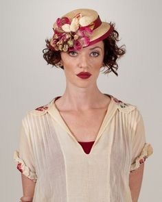 Doll Hat, desert sand with cherry, parisisal hat with vintage velvet berries and leaves
