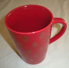 #Starbucks #Mug #Red #Polka #Dot Tone on Tone Coffee 14 oz NEW