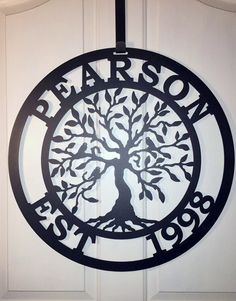 """Last Name Established Sign Tree of life, Family Last Name Monogram Sign,Custom Family Sign,Wedding gift, outdoor wreath  24"""" by housesensations on Etsy https://www.etsy.com/listing/243944638/last-name-established-sign-tree-of-life"""