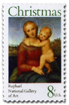 Day 12 - In some years, the Postal Service issued both a traditional stamp, celebrating the season, and a religious stamp, celebrating the birth of Christ.  1973 - Small Cowper Madonna, by Raphael - Religious…Merry Christmas from World Stamp Show-NY2016