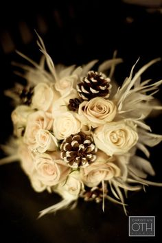 winter wedding bridal bouquet incorporating pinecones Always With Flowers - Lemont, IL