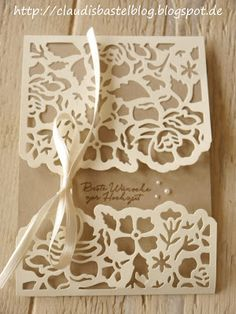 Ein Hochzeitskärtchen - gewerkelt mit den Thinlits Florale Fantasie... mehr unter http://claudisbastelblog.blogspot.de