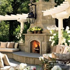 Sensual Home Decor - Outdoor Fireplace - Enjoy Your Professional Feng Shui Design Consultation at the link.