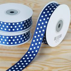 """25 Yards 7/8"""" DIY Navy Blue Grosgrain Polka Dot Ribbon Wedding Party Dress Favor Gift Craft Decoration   eFavorMart / Such a hip unison of two most popular and favorite styles; Peppy Polka Dots and Gorgeous Grosgrain! Grosgrain ribbon is one of the most preferred and demanded ribbons for decorations, embellishments, crafting, and accenting purposes. Premium quality nylon, cotton, and synthetic fabric materials are used to craft this plain weave corded fabric with a textured appearance and a…"""