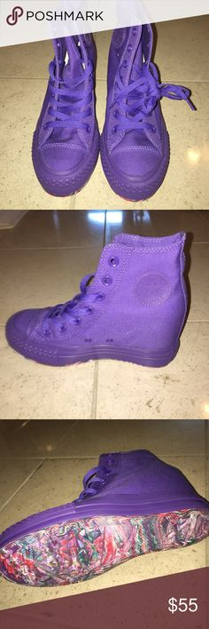 Converse wedge purple canvas Brand new. Purple canvas converse all star with a wedge Converse Shoes Wedges