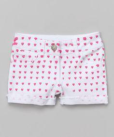 White & Pink Heart Shorts