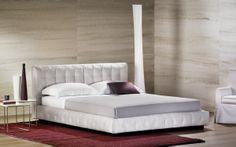 """Delightful, comfortable, perfect for any room or ambience // Piacevole, confortevole, facile da collocare in ogni tipo di ambiente (Double Bed // Letto matrimoniale """"Pinch"""" by Flou) #Beds #Bedroom #Letto #InteriorDesign #HomeDecor #Design #Arredamento #Furnishings #grey"""