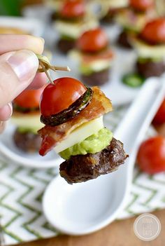 Bacon Jalapeno Guacamole Cheeseburger Bites with Chipotle Mayo are gluten-free bite-sized cheeseburgers that are perfect for game day or a party!