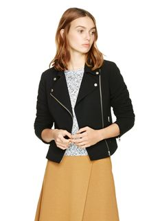 Punctuate your outfit with an slick biker jacket in Japanese crepe