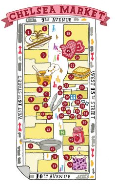 HIGH LINE maps  Chelsea Market , NYC - Aaron Meshon
