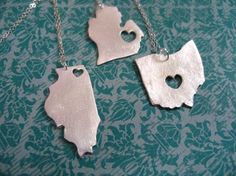 I Heart necklaces by stevie k on etsy. This independent designer's work has just been blatantly ripped by Urban Outfitters. Please repin and/or have a look at the shop by clicking through. The heart can be placed wherever you want within the state.