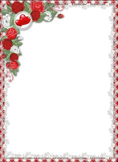 Red Love PNG Transparent Frame with Roses