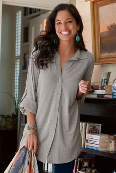 Soft Sunday Shirt - Knit Shirt, Cuffed Sleeves, Loose Fit   Soft Surroundings