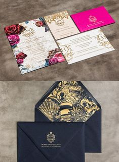 I don't know the author! If you know please let me know, I want to credit the author of this amazing vitage, dark flowers pink and gold wedding invitation set