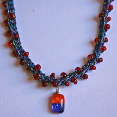 Photo of a Blue Red and Orange Beaded Crochet Necklace - Photo © Amy Solovay, Licensed to About.com, Inc.