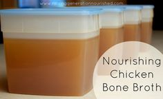 Nourishing Chicken Bone Broth-1-3 carcasses/bones from cooking your pastured chicken(s) Leftover carrots, celery, onion or fresh, ¼ c apple cider vinegar, Put everything into crockpot & fill w/water to cover bones by an inch-ish.  Let sit for 30-60 min. DO NOT TURN THE HEAT ON. This allows vinegar to extract minerals from bones.  Turn crockpot on low 24-36 hrs.  Strain.