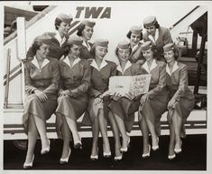 In 1956, five sets of stewardess twins make good publicity material for TWA. They are, front row from left to right, Jean and June Manby, Marilyn and Marlene Nagel, Phyllis and Mary Lous Jibbes and back row, Ruth and Pat Zimmerman and Rose and Victoria Lewis.