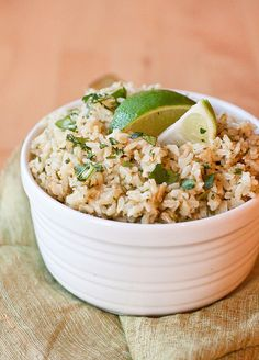 Cilantro Lime Rice by Smells Like Home.  Made with short grain rice, added cilantro, lime and olive oil straight into rice cooker and it tasted great!