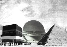 'Hardcorism' by WAI architecture, (left) kaa'ba, mecca; (middle) etienne louis boulee, newton cenotaph, chaux;  (right) kefren tomb, iv dynasty, giza