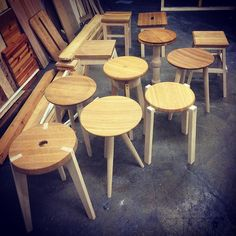Collection of my stool project made with varied types of wood joinery and seats  #woodwork #woodworking #finewoodworking #design #woodturning #woodlathe #stool #oak #birch #slöjd #sittpall by aimtocraft