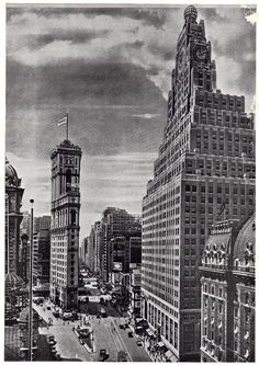 7th Avenue, Broadway, the Paramount Building, Times Building and Times Square, March 1927