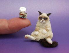 1 12 Dollhouse Miniature Cat by Kerri Pajutee IGMA OOAK | eBay. She made a miniature Grumpy Cat!