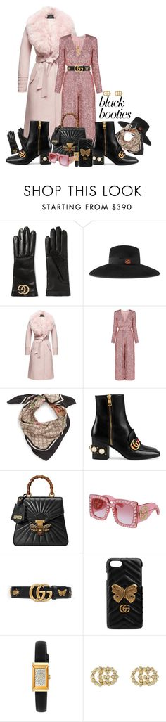 """""""Black Booties"""" by fantasiegirl ❤ liked on Polyvore featuring Gucci, Sentaler and Temperley London"""