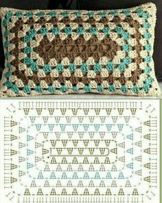 Crochet Granny Square Rectangle Yarns Ideas For 2019 Crochet Granny Square . Crochet Granny Square Rectangle Yarns Ideas For 2019 Crochet Granny Square Rectangle Yarns Crochet Cushion Cover, Crochet Pillow Pattern, Crochet Cushions, Granny Square Crochet Pattern, Crochet Diagram, Crochet Squares, Crochet Chart, Crochet Granny, Crochet Motif