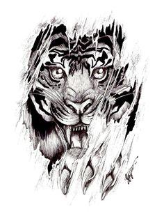 Ripped Skin Tiger Tattoo Design Idea