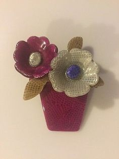 VINTAGE LEA STEIN PARIS DOUBLE FLOWER POT FLORAL BROOCH PIN  | eBay