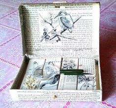 Vintage matchbox snailmail with matchboxes covered in old books. Lots of detailed photo's, also what's inside each box.