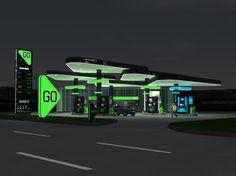 Futuristic Architecture, Architecture Design, Car Wash Business, Lanscape Design, Ev Charging Stations, Old Gas Stations, Filling Station, Canopy Design, Retail Design