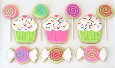 Sweet candy and cupcake shaped cookies!