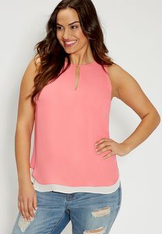 plus size reversible sleeveless top with high-low hem in pink grapefruit (original price, $32.00) available at #Maurices