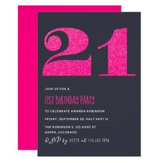 21st birthday party metallic invitation invitations custom unique 21st birthday party hot pink glitter invitation invitations custom unique diy personalize occasions filmwisefo Gallery