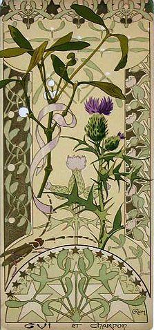 Mistletoe & Thistle from Etude de Fleurs, 1890s