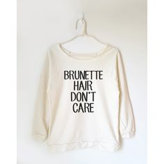 Brunette Hair Don't Care Shirt Funny Shirt Tumblr Shirt Cool Shirt Off... ($22) ❤ liked on Polyvore featuring tops, black, sweatshirts, women's clothing, checkered shirt, raglan top, off the shoulder shirts, off shoulder shirt and raglan sleeve top