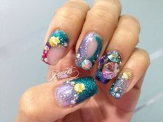 Hey, I found this really awesome Etsy listing at https://www.etsy.com/listing/223236241/mermaid-nails-sea-theme-seashells