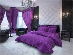 Purple decadence in a monochromatic room - with a feature quilted wall behind the double bed. Purple Bedroom Decor, Decor, Trendy Bedroom, Room Colors, Bedroom Design, Bedroom Decor, Monochromatic Room, Interior Design, Home Decor