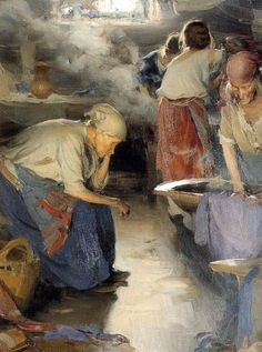 The Washer Woman 1901 - Abram Arkhipov was a Russian realist artist, who was a member of the art collective The Wanderers as well as the Union of Russian Artists.