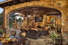Tuscan style – Mediterranean Home Decor Outdoor Kitchen Patio, Outdoor Kitchen Design, Patio Design, Backyard Patio, Exterior Design, House Design, Outdoor Kitchens, Outside Living, Outdoor Living Areas