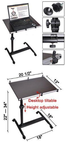 Mobile Laptop Desk Tray Table Over Bed with Roller Dark Wood by Mega Brands. $70.95. Smooth laminated tabletop. Minor assembly required. Extra long tabletop applicable for both right-hand and left-hand users. Brakes on the casters to stop the table from moving when you want a stable working platform. Four plastic protectors on the corners to prevent from scratching. Features:   ?Solid wood tabletop  ?Steel stand with powder coated  ?Smooth laminated tabletop  ?Tiltable tabletop...