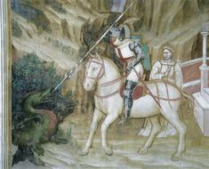 Histoires de Saint Georges ~ Saint Georges tue le dragon (Saint George killing the dragon) ~ ~ Altichiero da Zevio (vers George & Dragon, Saint George And The Dragon, Perseus And Medusa, Medieval Dragon, High Middle Ages, Saint Georges, Saint Michel, Viking Age, Historical Art