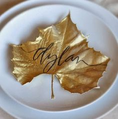 Name cards just got fun..... spray leaves with gold paint. When dry use a soft tip black permanent marker to write names. Autumn wedding perfection!