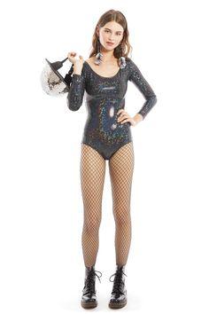 Black Holographic Long-Sleeved Bodysuit by Sea Dragon Studio | Festivalia.com