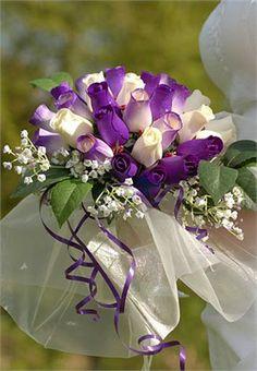 purple and white tulips