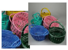 Baskets made from hoses! saw these @ a craft show filled w/gardening stuff, gift baskets, Easter baskets, cute!